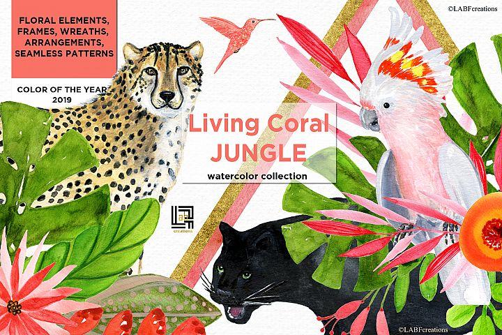 Living Coral Jungle. Watercolor clipart.