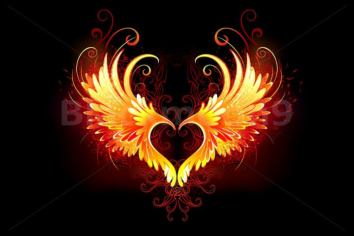 Angel Fire Heart with Wings