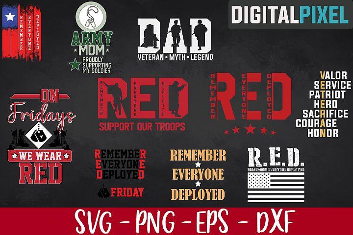 Red Friday Bundle SVG PNG EPS Support Our Troops SVG