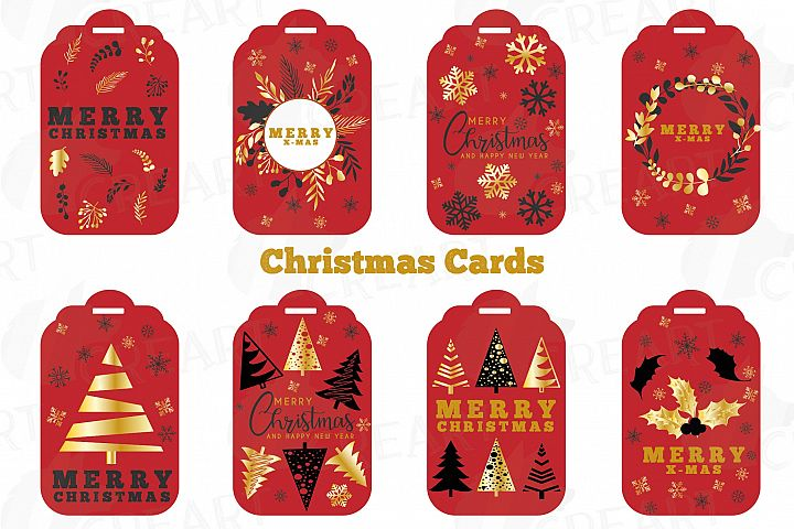 Red Christmas Cards, Merry Christmas printable labels png