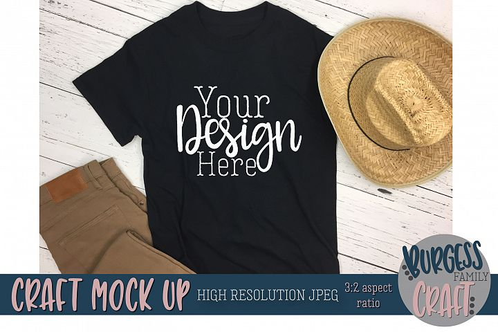 Mens black t-shirt straw hat Craft mock up |High Resolution