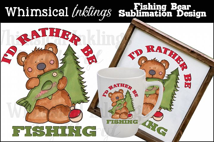 Fishing Bear Sublimation Design