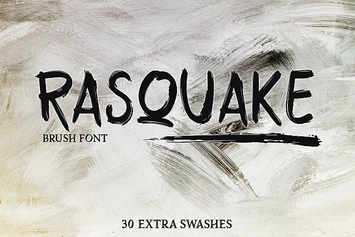 RASQUAKE brush font EXTRA swashes