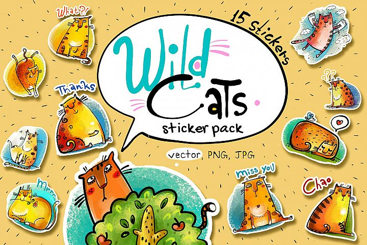 Wild Cats - sticker pack