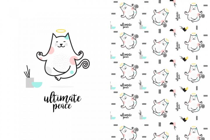 Cute yoga cat illustration with pattern
