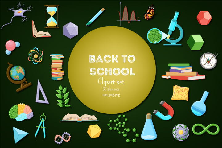 Back to School. Science and nature supplies clipart set.