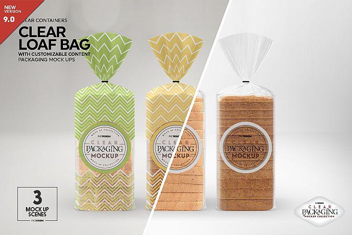 Clear Loaf/Bread Bag Packaging Mockup