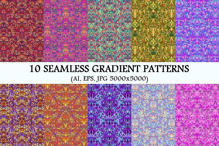 10 Seamless Gradient Floral Triangle Patterns