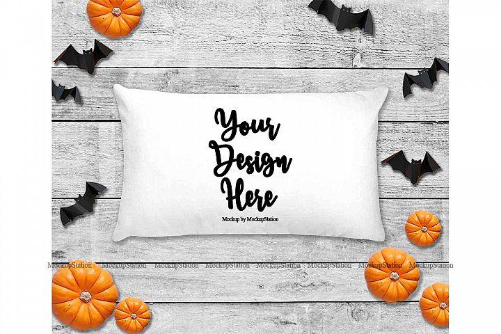 Halloween White Throw Pillow Mockup, Rectangle Fall Cushion
