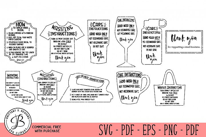Care Card Instruction SVG, Care Card Bundle SVG