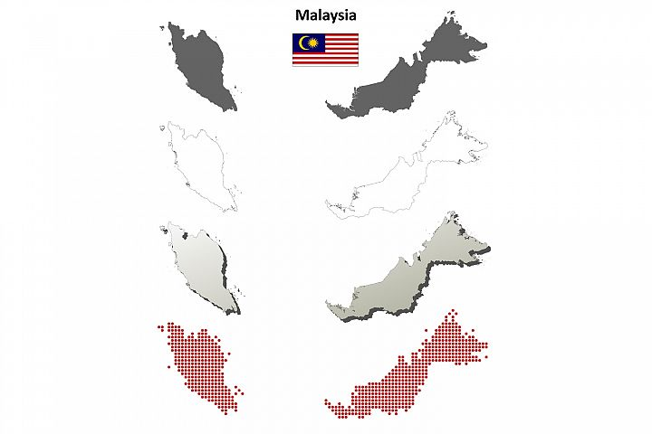 Malaysia outline map set