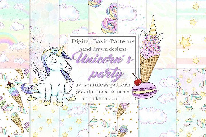 Unicorns party - Basic Digital Pattern