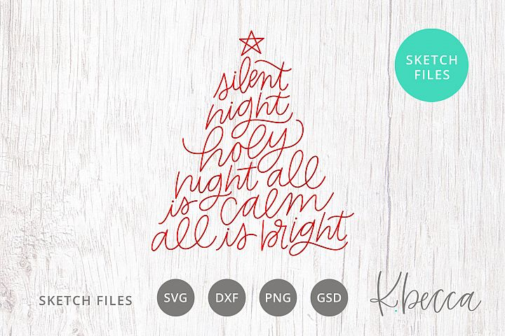 Foil Quill Sketch Silent Night Lyrics Christmas Tree SVG
