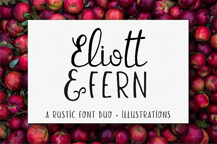 Eliott and Fern rustic font duo & Farmhouse doodles