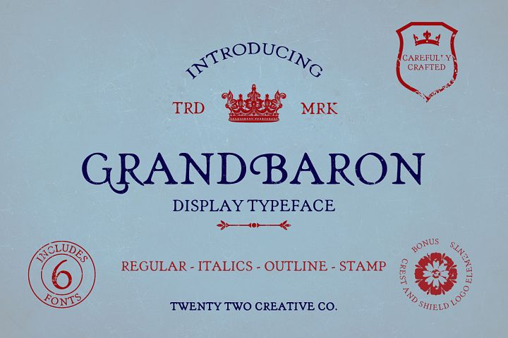Grand Baron - A Vintage Typeface & Bonus
