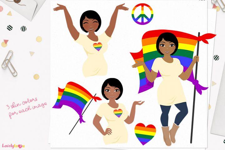 Pride woman character clip art L472 Oona