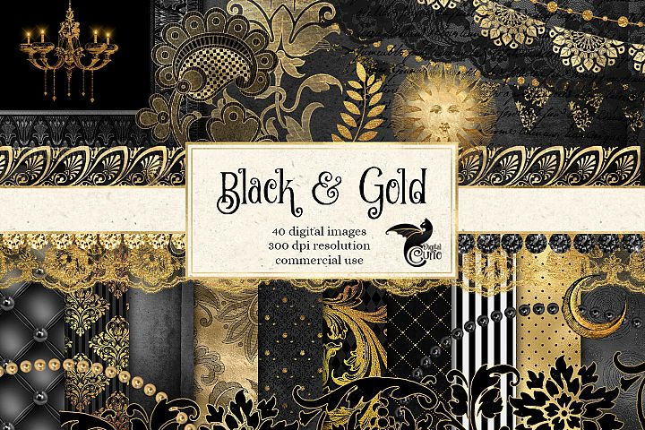 Black and Gold Digital Scrapbooking Kit