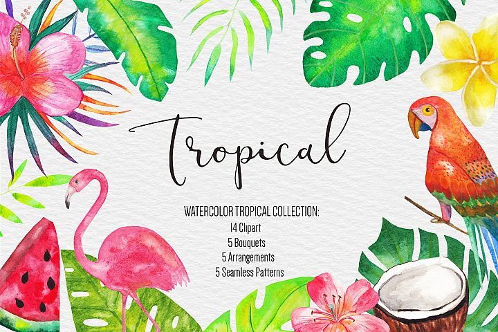 Watercolor Tropical Clipart, Tropical Seamless Patterns
