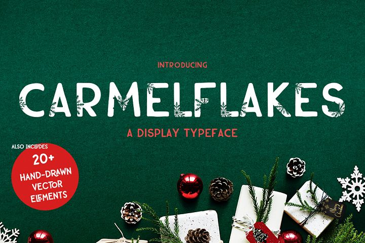 Carmelflakes Christmas Font & Doodles