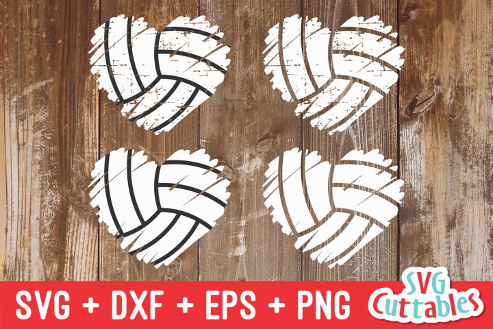 Volleyball Heart Brush Stroke   SVG Cut File