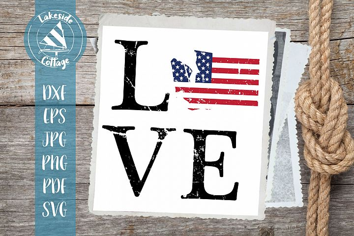 LOVE Washington - 4th of July - Memorial Day svg dxf eps