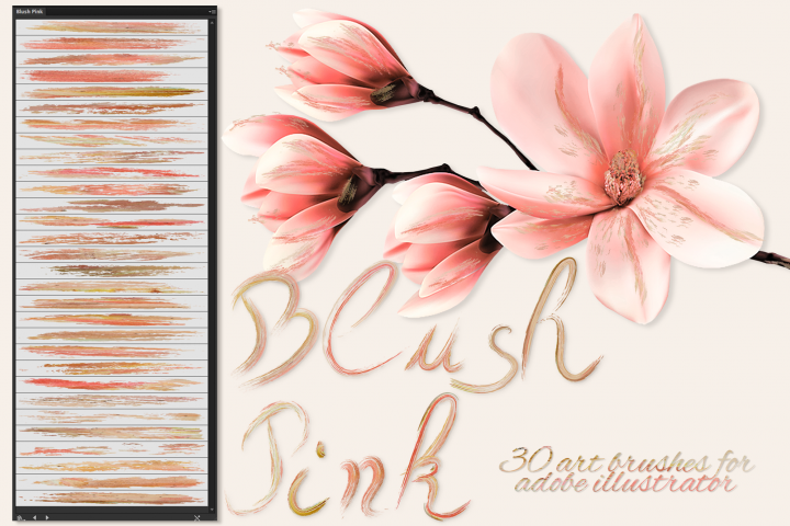 Blush Pink Brushes for Illustrator