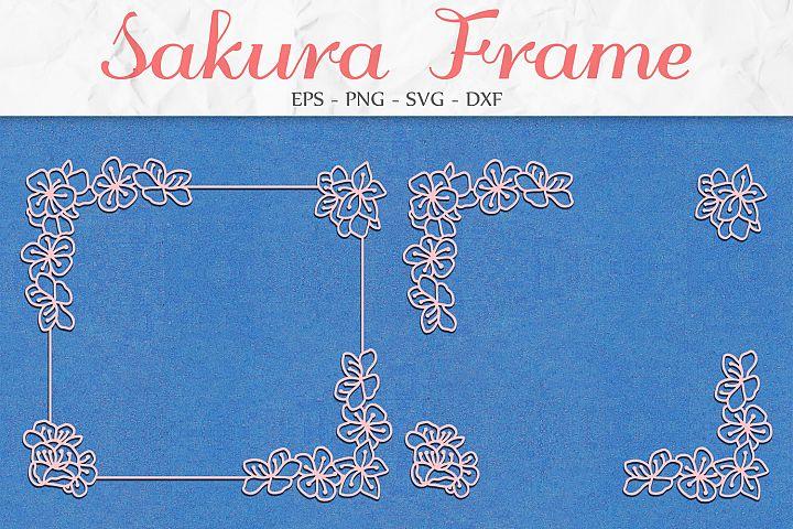 Sakura Flowers Frame svg png dxf eps - Sakura Blossom Frame