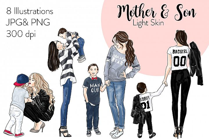 Fashion illustration clipart - Mother & Son - Light Skin