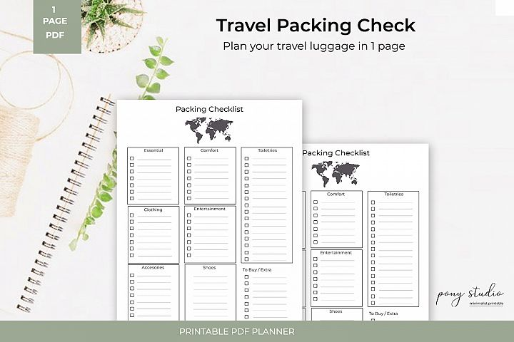 Travel Packing List Template | A4- PDF Printable