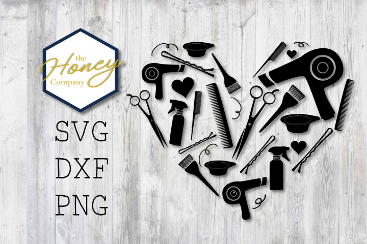 Hair Stylist SVG PNG DXF Shears Comb Color Heart Cut Files