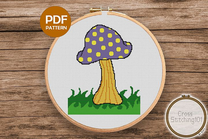 Mushroom on Grass Cross Stitch Pattern- Instant Download PDF