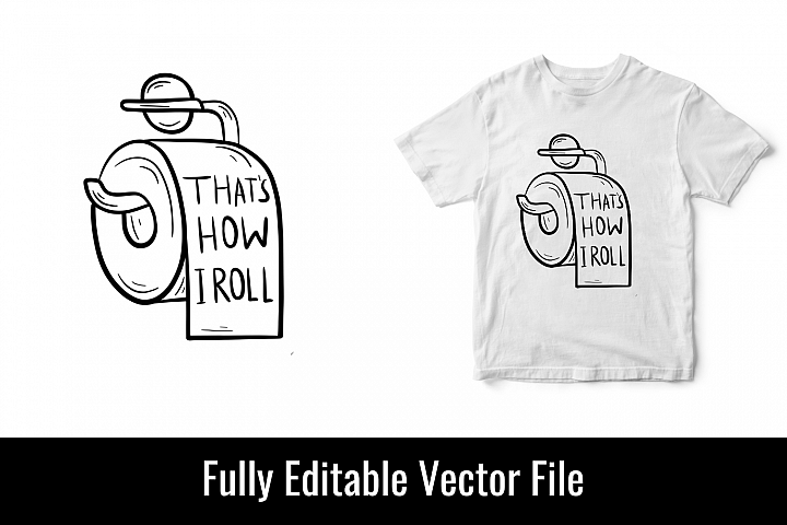 toilet loo paper roll funny vector t shirt design