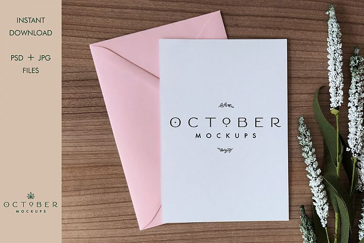 Mockup card & envelope | Baby girl card mockup | postcard