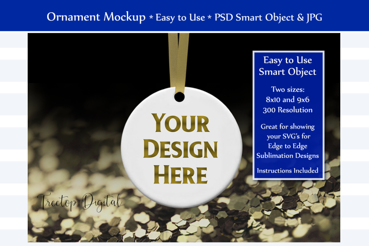 Christmas Ornament Mockup, Gold Sparkles, Smart Object & JPG