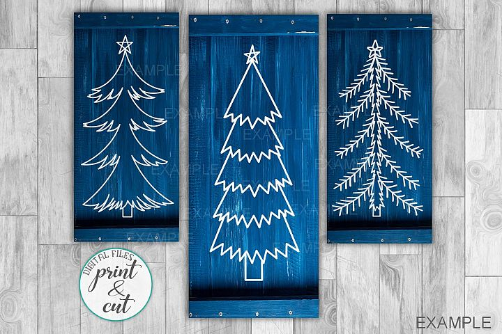 Primitive Vintage Christmas trees bundle vertical sign svg