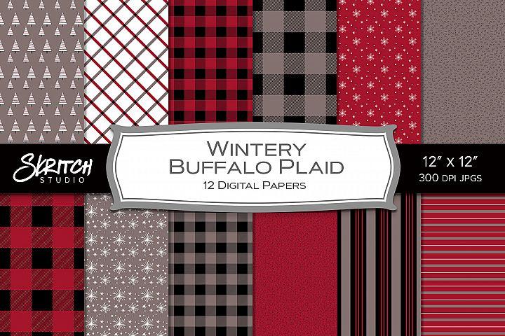 Wintery Buffalo Plaid - 12 Digital Papers