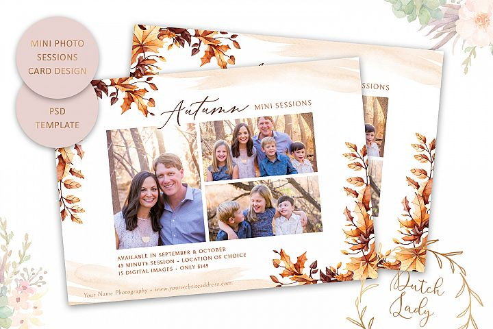 PSD Autumn Photo Session Card Template - Design #48