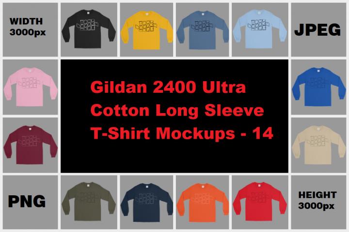 MEGA BUNDLE Gildan 2400 Long Sleeve T-Shirt Mockups - 14