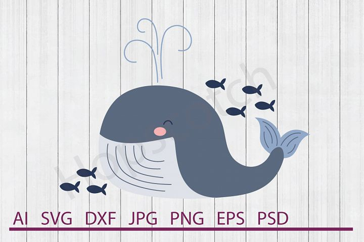 Whale SVG, DXF File, Cuttable File