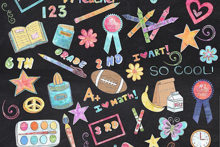 155 Colored Chalk School Elements/Clipart