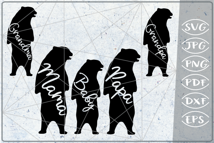 Family Bear Bundle SVG Cutting File Mothers Day silhouette