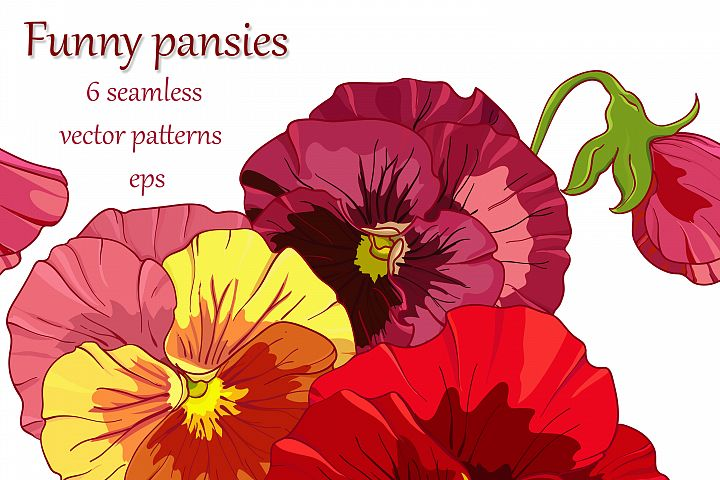 Vector red pansies, 6floral seamless patterns