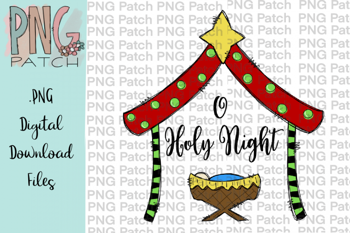 O Holy Night, Cute Colorful Manger, Christmas PNG File