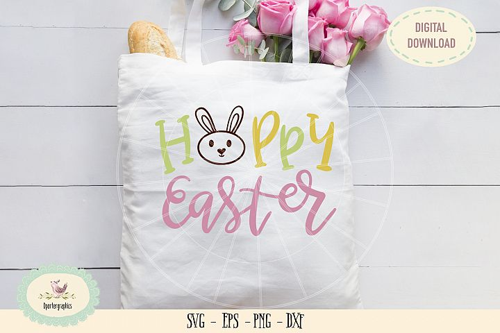Hoppy Easter SVG PNG hand lettered easter bunny