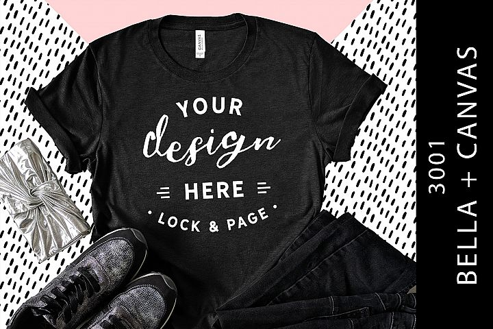 Heather Black Bella Canvas 3001 T-Shirt Mockup Fashion Setup
