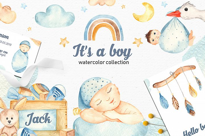 Its a boy watercolor collection clipart