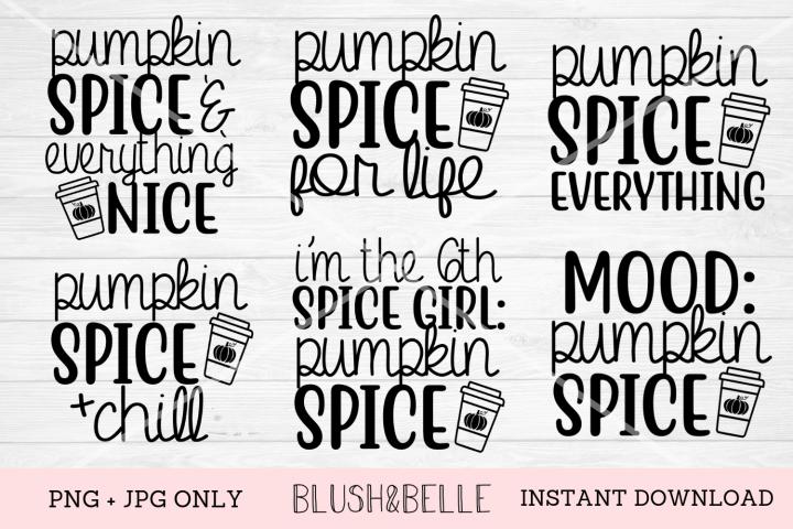 Pumpkin Spice Bundle of 6 Designs - PNG, JPG