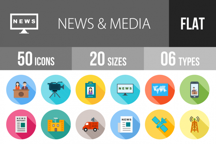 50 News & Media Flat Long Shadow Icons