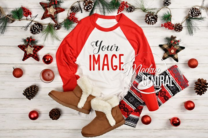 Womens Blank Raglan T-Shirt Christmas Winter Shirt Mock Up