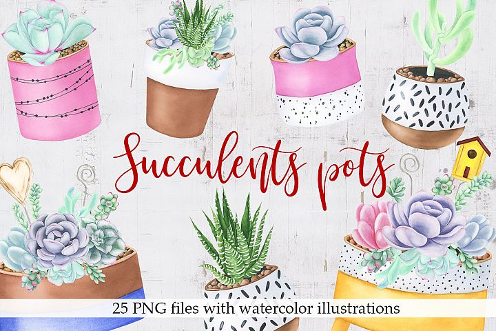 Watercolor Succulents Pots Clipart